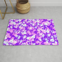 beautiful vintage delicate pink and white vine leaves against purple background pattern print design Rug
