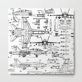 F-18 Blueprints Metal Print