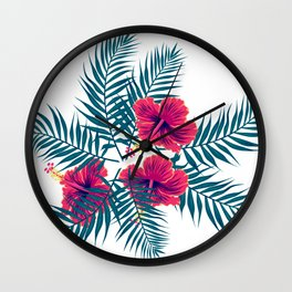 Palm Leaves and Hibiscus Flowers Wall Clock