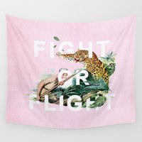 fight Wall Tapestries featuring Fight or Flight by Heather Landis
