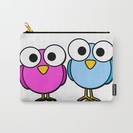 Pink and blue googly eyed birds cartoon Carry-All Pouch