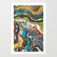 brain waves Art Prints featuring inside my brain by julvas