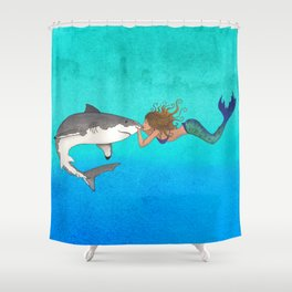 The Shark and the Mermaid Shower Curtain
