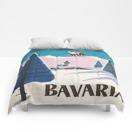 Bavaria, Germany Vintage Ski Travel Poster Comforters