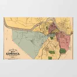 Map Of Lowell 1881 Rug