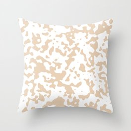 Spots - White and Pastel Brown Throw Pillow