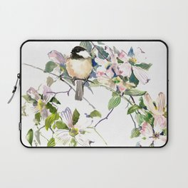 Chickadee and Dogwood Flowers Laptop Sleeve