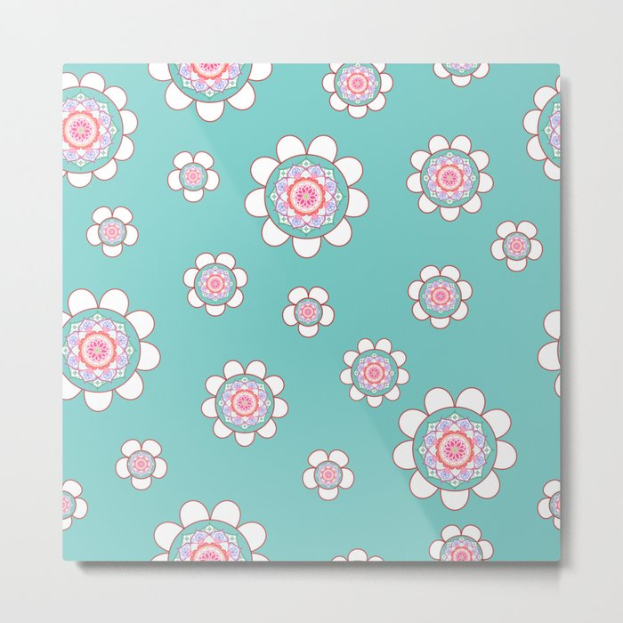 Mandala Flowers Pattern Blue Pink Metal Print