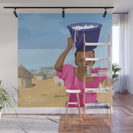 African Village Girl Wall Mural