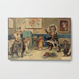 The Naughty Puss Cat Print by Louis Wain Metal Print
