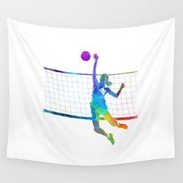 Woman volleyball player in watercolor Wall Tapestry