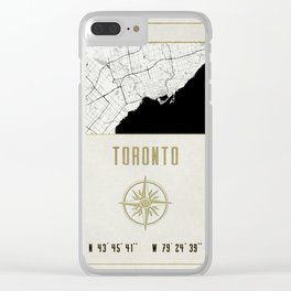 Toronto - Vintage Map and Location Clear iPhone Case