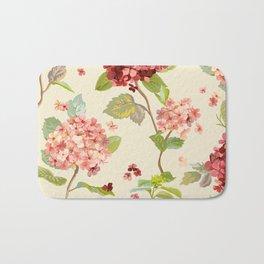 Fall Hydrangeas, Floral Print Bath Mat
