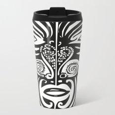 Maori Moko | Tribal Tattoo | New Zealand | Black and White Metal Travel Mug