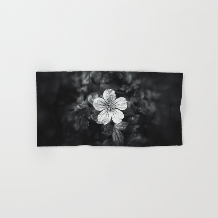 Minimalistic black and white flower petal Hand & Bath Towel