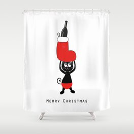 Cute black cat holding Christmas sock and champagne bottle Shower Curtain