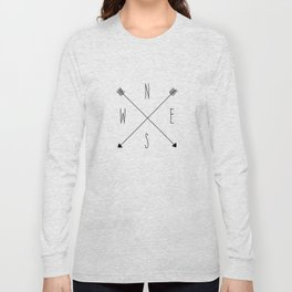 Compass - North South East West - White Long Sleeve T-shirt