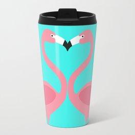 Flamingos Kissing Travel Mug