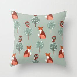 Fox Woods Throw Pillow