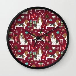 Basset Hound christmas pattern christmas dog breed pet friendly gifts Wall Clock