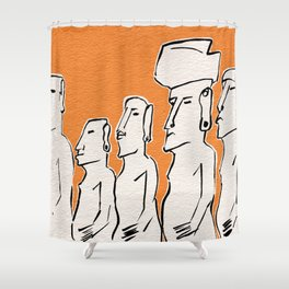 Moai statues in ink Shower Curtain