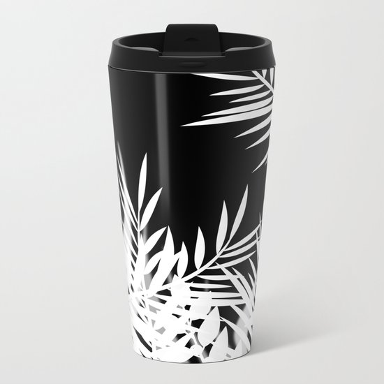 The leaves and berries. Black and white pattern . Metal Travel Mug