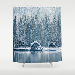 Winter's Cottage (Color) Shower Curtain