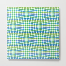 Dottywave - Green Blue wave dots pattern Metal Print