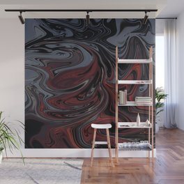 Grey & Red Abstract Painting Wall Mural
