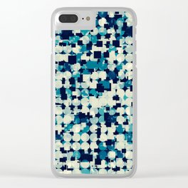 geometric square and circle pattern abstract in blue green Clear iPhone Case