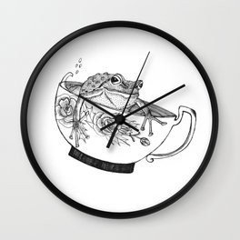 Pacific Northwest Tree Frog Riding in a China Teacup Wall Clock