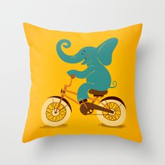 Elephant on the bike Throw Pillow