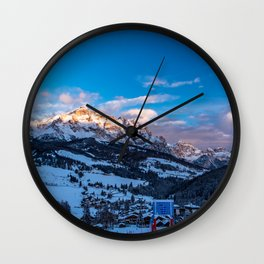 Winter sunset in the italian alps Wall Clock
