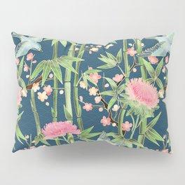 Bamboo, Birds and Blossom - dark teal Pillow Sham