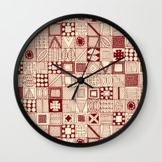 geo wolf red ivory Wall Clock