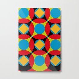 Very colorful circles, squares, intersections, geometrical fantasy. Metal Print
