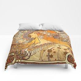 Alphonse Mucha Zodiac La Plume Comforters