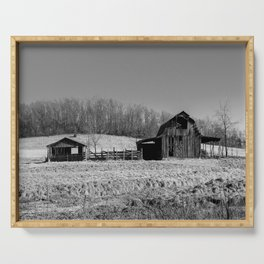 Days Gone By - Old Arkansas Barn in Black and White Serving Tray