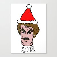 tom selleck Canvas Prints featuring Merry Christmas Tom you by Mary Naylor