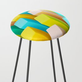 Color Blocking Pastels Counter Stool