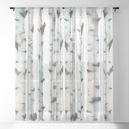 Birch Tree forest Sheer Curtain