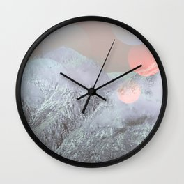 Bokeh Lights on Mountains Wall Clock