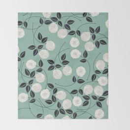 Pattern with white roses Throw Blanket