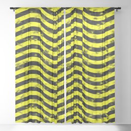 Wiggly Yellow and Black Speckle Pattern Sheer Curtain