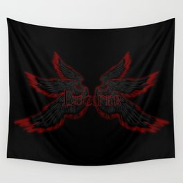 Archangel Lucifer with Wings Black Wall Tapestry