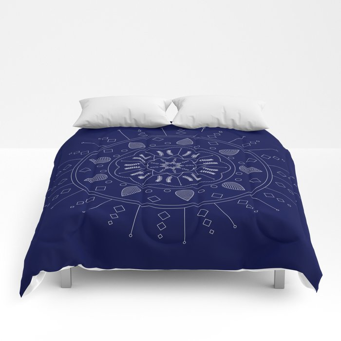 Vector White Mandala on Navy Comforters