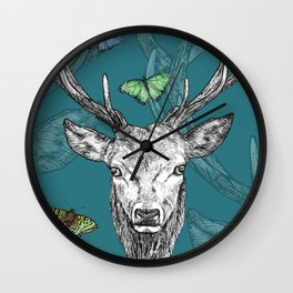 Scottish Stag, butterflies, pen and ink illustration, teal blue Wall Clock