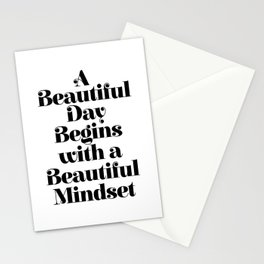 A BEAUTIFUL DAY BEGINS WITH A BEAUTIFUL MINDSET motivational typography inspirational quote Stationery Cards