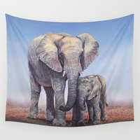 novelty Wall Tapestries featuring Elephants Mom Baby by Moody Muse