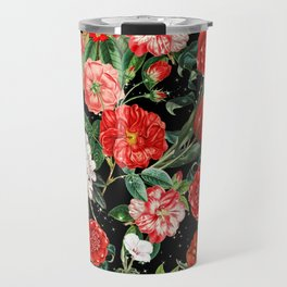 Mix Red Flowers with Stars Travel Mug